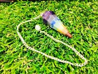 Seven Chakra Reiki Divination Dowsing Pendulum With 7 Inch Long Chain
