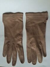 Women's Vintage Wrist Length Light Tan Leather Gloves Size 7 ?