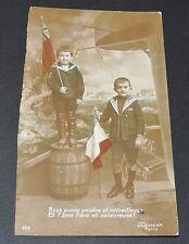 CPA 1914 GUERRE 14-18 CARTE PATRIOTIQUE ENFANTS POUDRE ET MITRAILLEUSE