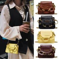 PU Leather Women Mini Crossbody Bag Retro Chain Shoulder Messenger Handbag Purse