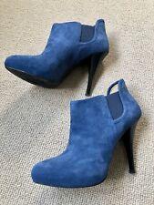 GUESS Blue Suede Hidden Platform Ankle Boots 6 39