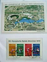 ALLEMAGNE 1972 J.O MUNICH Document Officiel Collection Timbre Briefmarken