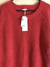 Lucky Brand Women's XL Sexy Red Sweater Ribbed Crew Neck Long Sleeve New