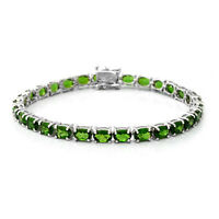 "925 Sterling Silver Platinum Over Diopside Tennis Bracelet Size 7.25"" Ct 0.5"
