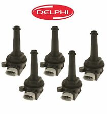 Volvo C30 S40 V50 S60 Set of 5 Ignition Coils With Spark Plug Connector Delphi