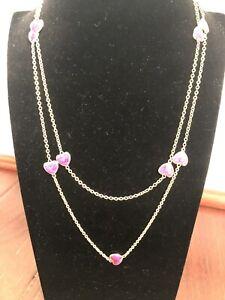"Lauren G Adams Hearts Love 42"" Station Necklace - Purple - NEW - MSRP$99"