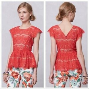 Maeve Anthropologie Katrine Orange Lace Cap Sleeve Peplum Top Blouse Size S