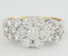 1.5 ct 14K Yellow Gold Round Cut Diamond Cluster Style Flower Engagement Ring