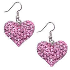 Pink Heart Hook Earrings Jewelry Girl Friend Valentine's Day Birthday Gift