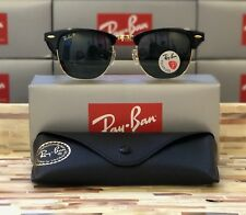 Ray-Ban Clubmaster Sunglasses Polarized RB3016 901/58 51mm Black/Green Lens!!!