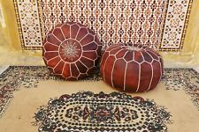 Set of 2 Handmade Moroccan Pouf Leather Ottoman Footstool Brown Unique Color