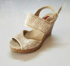 Pop Womens Eugena High Heel Wedge Sandals Peep Toe Sling Back Size 7M