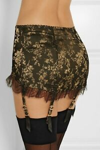 Rare Agent Provocateur Leoni Black and Gold Suspender Skirt Size AP3 / UK10 BNWT