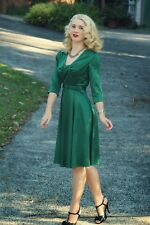 Stunning HELL BUNNY War WW2 Vintage 40s DRESS Emerald Green Satin Goodwood 14