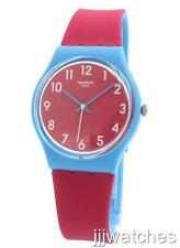 New Swiss Swatch Originals Lampone Red Dial Silicone Unisex Watch 34mm GS145