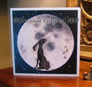 Hare on moon painting art greetings card original design by Suzanne Le Good