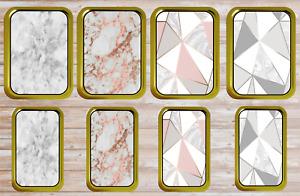 Marble Rose Gold Geometric Metal Tobacco 1oz 2oz Stash Storage Pill Tin Gift