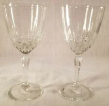 """Set of 2 Vintage Cut Glass Crystal Wine Glasses 7"""" Clear Gorgeous Glasses"""