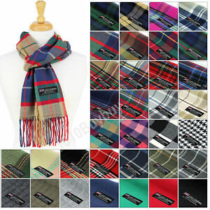 Men And Women Scarf Plaid 100% Cashmere Made Scotland Classic Soft Winter