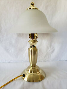 """Gold-Tone Touch Lamp 15"""" w/Frosted Glass Shade Portable Luminaire"""