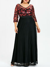 Plus Size XL-5XL Women Dress Sequined Floral Print Maxi Prom Evening Party Dress
