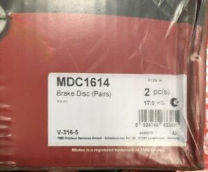 FRONT BRAKE DISCS x2 316mm Fits VOLVO XC90 I V70 II S60 I Mintex MDC1614