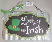"Luck of Irish St. Patrick's Day Sign Metal Irish Green Wall Art 11""x7"""