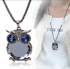 Fashion Silver Gold Owl Rhinestone Crystal Pendant Necklace Long Sweater Chain