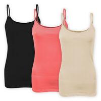 Womens Ladies Stretch Cotton Plain Vest Top Spaghetti Strap Casual T-Shirt Cami