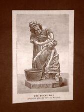 Incisione del 1879 You dirty boy Statua in gesso di Giovanni Focardi