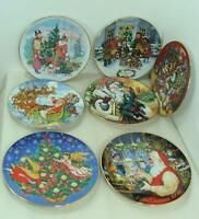 Vintage Lot/7 1990-1996 Avon Yearly Christmas Plates With 22Kt Gold Trim Exclnt