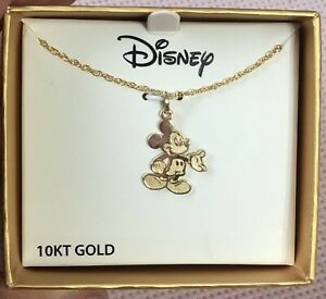 10K Yellow Gold Disney Cartoon Mickey Mouse Pendant Necklace In Original Gif Box