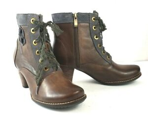 L'Artiste Spring Step Pinot Women Bootie Taupe Leather Lace-Up Side Zip US 6.5