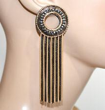 Orecchini neri oro dorato donna cerchi fili lunghi pendenti strass grigi BB15