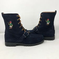NIB Polo Ralph Lauren Ranger Navy Blue Reverse Suede Buckle Boots Sz 11 Bear