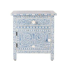 Bone Inlay Floral Design 1 Drawers 1 Door Bedside Table Blue, Bone Inlay