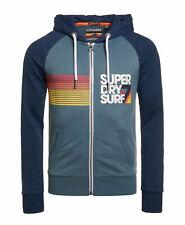 New Mens Superdry Mens No 7 Surf Lite Raglan Zip Hoodie Neptune Blue Marl