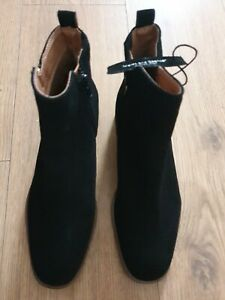 Ladies M& S  Black zip up Leather  suede ankle Boots Uk Size 4.5