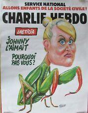 AFFICHE PUBLICITAIRE CHARLIE HEBDO LAETITIA HALLYDAY LA MANTE RELIGIEUSE
