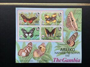 GAMBIA 1980 WWF ABUKO NATURE RESERVE BUTTERFLIES MNH Miniature Sheet SG MS435