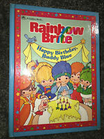 Hallmark RAINBOW BRITE Happy Birthday Buddy Blue 1984 GOLDEN BOOK Vintage KID HC