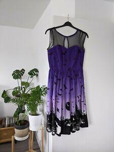 Medium Hell Bunny Haunt Dress 50s Pumpkin Halloween Bats Purple