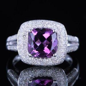 Valentine's Day 8x8mm Cushion 14K White Gold Amethyst Real Diamond Gemstone Ring