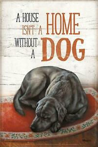 """A House isn't a Home Without a Dog - Black Lab 12"""" x 18"""" Wood Sign by Rosemary M"""
