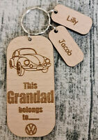 PERSONALISED GIFTS FOR HIM FATHERS DAY GIFT WOODEN KEYRING VW BEETLE VOLKSWAGEN