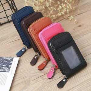 Unisex Lady Men Wallet Credit Card Case Holder Leather Blocking Zip Pocket UK