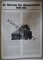 Universum Film Ufa Berlin Große Werbeanzeige von 1926 Reklame Werbung ad