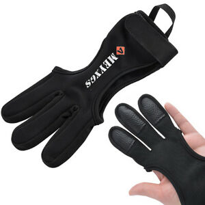 Archery 3 Finger Gloves Protector Gear Bow Shooting Guard Right Left Hand Target