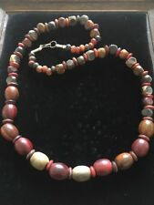 natural earthy colours red / green / brown wooden bead necklace