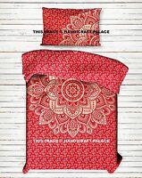 Ombre Mandala Imprimé Set Housse de Couette Double Bohème Indien Rouge Neuf Déco